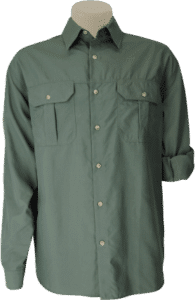 STOCK - MENS CLASSIC BUSH SHIRT LS, TECH FABRIC - OLIVE