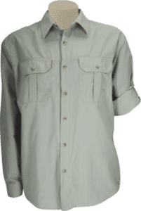 STOCK - MENS CLASSIC BUSH SHIRT LS, TECH FABRIC - STONE