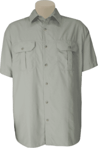 STOCK - MENS CLASSIC BUSH SHIRT SS, TECH FABRIC - STONE