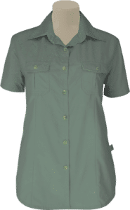 STOCK - LADIES BUSH SHIRT SHAPED SS, TECH FABRIC - OLIVE