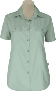 STOCK - LADIES BUSH SHIRT SHAPED SS, TECH FABRIC - STONE