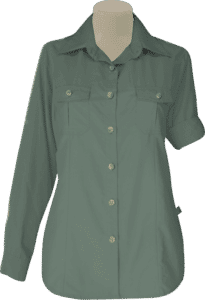 STOCK - LADIES BUSH SHIRT SHAPED LS, TECH FABRIC - OLIVE