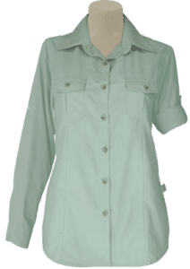 STOCK - LADIES BUSH SHIRT SHAPED LS, TECH FABRIC - STONE