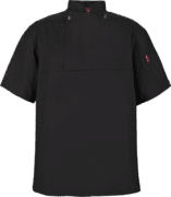 STOCK - CHEFS FLAP SHIRT POLYCOTTON SS - BLACK