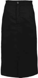 STOCK - LADIES SERVICE HALF ELAST SKIRT WITH BUTTON & ZIP - BLACK