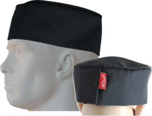 STOCK - CHEFS BEANIE WITH TOP PIPING - BLACK