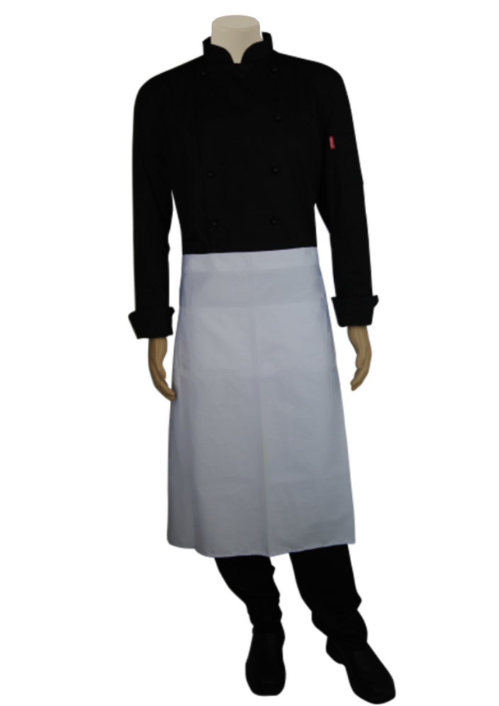 STOCK - HALF APRON WITH POCKET - WHITE