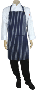 STOCK – BUTCHER STRIPE BIB APRON WITH NECK ADJUSTOR AND POCKET – BLUE/WHITE