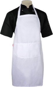 STOCK - BIB APRON WITH POCKET - WHITE